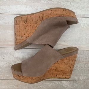 "Dolce Vita ""Ross"" Wooden Slide Wedges in Almond"